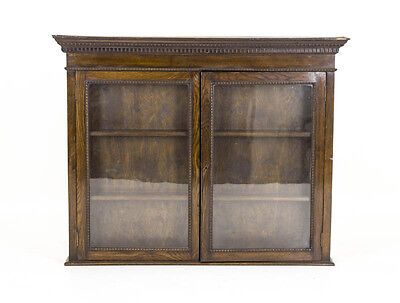 B492A Oak Glass Front Display Cabinet, Hanging Wall Cabinet, Collectors Cabinet
