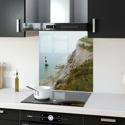 Kitchen Splashback Tempered Glass Heat Resistant Lighthouse Beach p4809 60x65cm