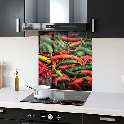 Kitchen Splashback Tempered Glass Heat Resistant Food Chilli Veg p48840 60x65cm