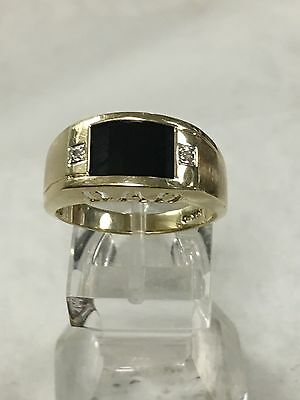 Men's 10K Yellow Gold Onyx & Diamond Ring Size 9.75