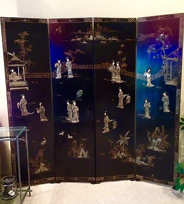 Antique Asian  (19th/20th Century) 4 panel black lacquered Inlaid Stone screen.