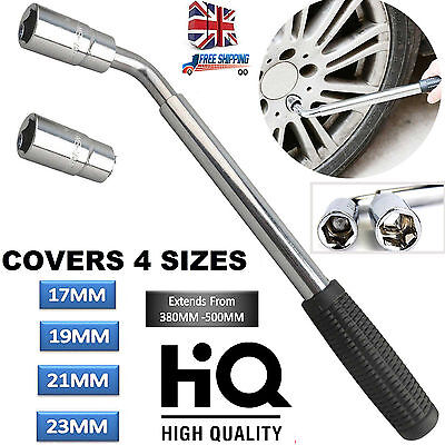 Heavy Duty Van Extendable 17 19 21 & 23mm Wheel Car Brace Socket Tyre Nut Wrench
