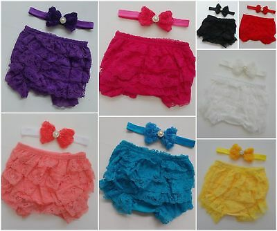 Baby Headband Lace Bloomers Ruffle Bum Frill Pants Nappy Cover Bottoms Girl