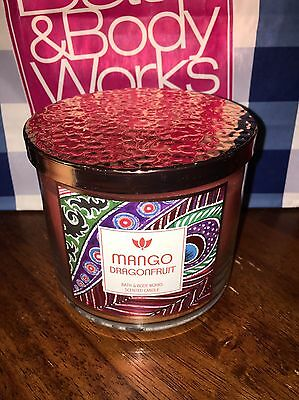 Bath and Body Works MANGO DRAGONFRUIT 3 Wick Candle Burns 25-45 Hours DELICIOUS