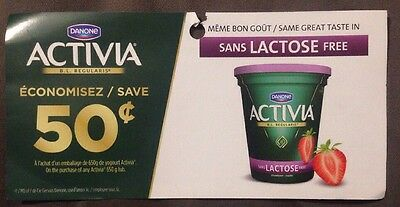 Lot 10 x 0.50$ ANY Activia 650g Products Canada Coupons