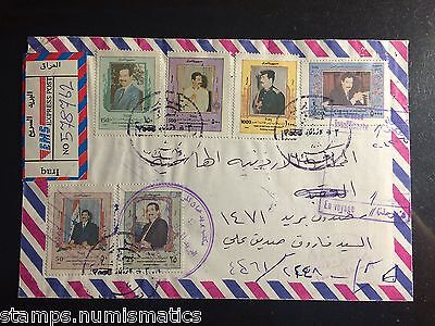 Iraq 2000, Saddam Birthday Stamps Complete Set on Reg Cover to Jordan VF RR