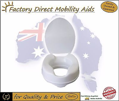 "Aspire Raised Toilet Seat Raiser 6"" 150mm With Lid Free Delivery Aus Wide"