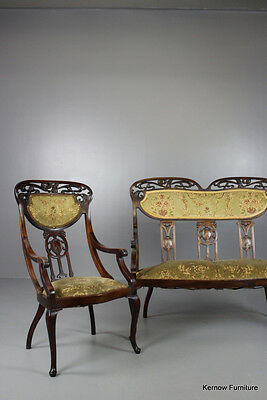 French Upholstered Mahogany Antique Art Nouveau Sofa & Chair