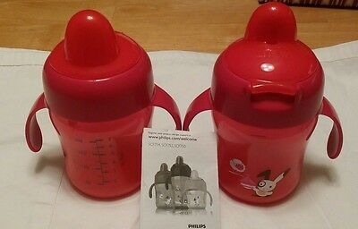 2 Philips Avent Spout Drinking Red Toddler Training Trainer Practice Cups 7 oz.