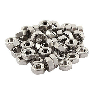 Metric M4x0.7mm Stainless Steel Hexagon Hex Nut Silver Tone 50pcs
