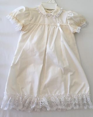 NWOT Vintage Something Pretty Yellow Infant  Day Gown 1970's SZ 6 Mos. Made USA