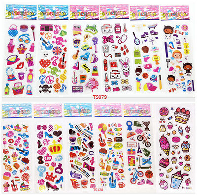 3D three-dimensional cartoon stickers children's toys learning 12sets / lot gift