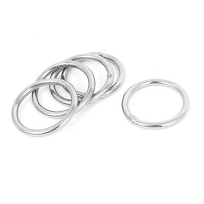 30mm x 3mm Stainless Steel Webbing Strapping Welded O Rings 5 Pcs