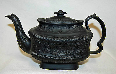 "Antique Black Basalt ""Strawberry Pattern"" Tea Pot England - coffee pot"