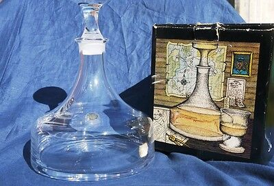 DARTINTON GLASS CRYSTAL SHIPS DECANTER by FRANK THROWER 1980s V.G.COND BOXED