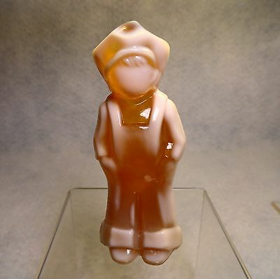 Beautiful Mosser Peaches & Cream depression SLAG GLASS Josh Dutch Boy Figurine