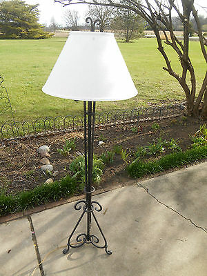 """Gorgeous Custom Antique Vintage Arts & Crafts Wrought Iron Floor Lamp 60"""" Tall"""