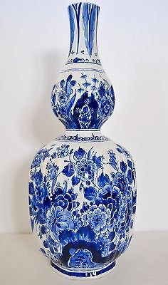 "Fine Antique Hand Painted Dutch Delft Porcelain Vase. 15 1/4"" Tall With Marks"