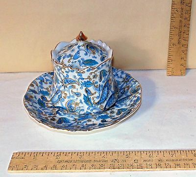 LEFTON Blue Paisley JAM / JELLY JAR with UNDERPLATE - Jar with Lid - chipped