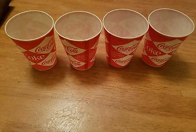 Vintage Lot of 4 Coca Cola Coke Paper Cups