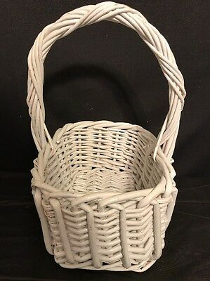 "Vintage White Wicker Easter Gathering Basket 10"" x 7"" / 12"" tall"