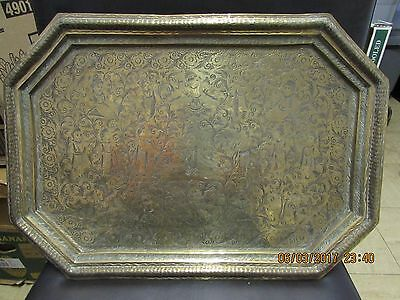 Vintage Indian brass tray engraved deities and worshipers with flowers