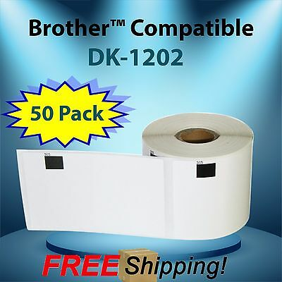 White Paper Rectangular Shipping Labels DK-1202 QL Brother™ Compatible 50 Rolls