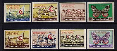 Uae Dubai Stamps1963 Red Cross Imperf Sc #18-21; C9-C12 Mnh