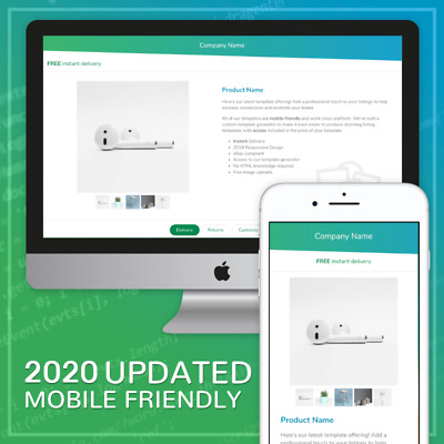 EBAY RESPONSIVE LISTING Template Mobile Friendly Design 2019