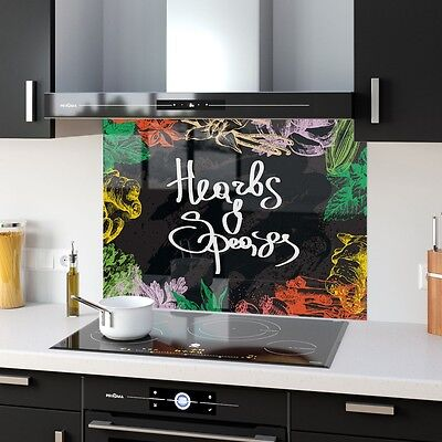 Kitchen Splashback Toughened Glass Heat Resistant Food Herbs 29561985 90x65cm