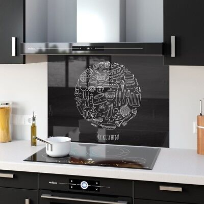 Kitchen Splashback Toughened Glass Heat Resistant Food Doodle 32598708 90x65cm