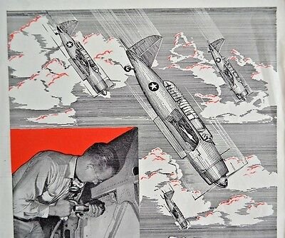 1943 WW2 WWII Ingersoll Rand  Bomber Plane  Army Navy E  Vintage Print Ad