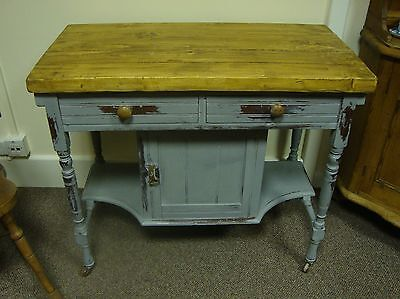 Victorian Freestanding Kitchen Store Cupboard. Thick Pine Top Distressed Blue