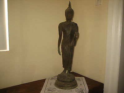 "26.5"" Antique Bronze Sukhothai Walking Buddha Statues  Temple Thai Amulet"