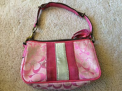 "COACH Pink Silver Girls Purse Small Excellent 8"" X 5"", 6"" Strap Drop"