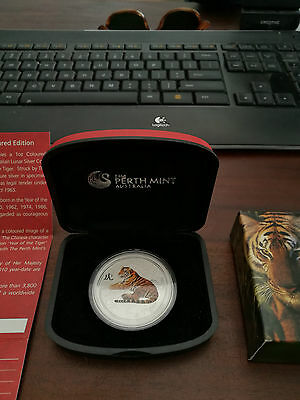 Perth Mint 2010 Lunar Year of The Tiger 1 oz Silver Coloured Coin Mintage 3800