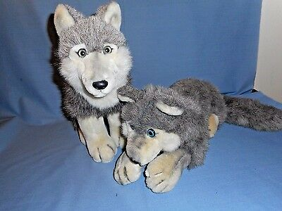 "Lot of 2 Wolf Pups Stuffed Animals by Juans Corp Gray & Lt Tan 11"" Tall-13"" Long"