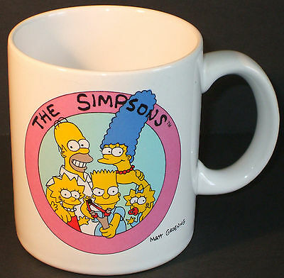 Simpsons Official Family Coffee Cup - Mug - 1990 - Used Bart Homer Marge Lisa
