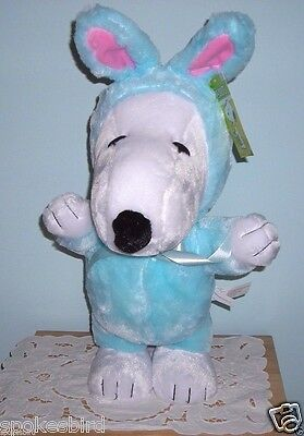 New ~ Snoopy Easter Beagle Porch Greeter In Bunny Suit ~ Gemmy Plush Doll Toy