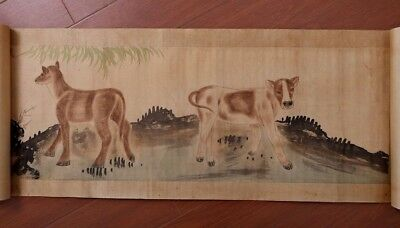 Very Long Amazing China Old Handwork Landscape Scroll Painting Collection PP701