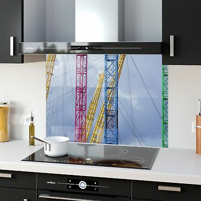 Kitchen Splashback Toughened Glass Heat Resistant Industry Area p219542 90x65cm