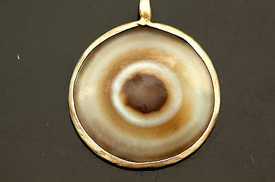 Ancient Lumik Tibetan Eye Agate Dzi Bead Sterling Silver Pendent / Necklace