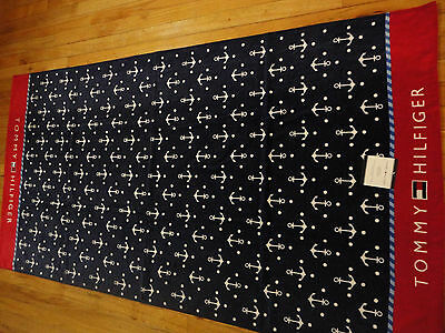 New Tommy Hilfiger Beach Towel Anchor Pindot Navy/red 100% Cotton