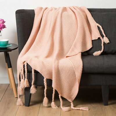 Perisher Chunky Knit Blush Pale Pink Throw Rug