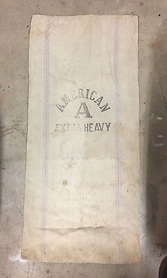 AMERICAN Extra Heavy canvas SEED grain FEED BAG SACK antique vintage