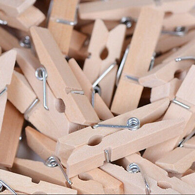 50pcs Mini Natural Wooden Clothes Photo Paper Pegs Clothespin Craft Clips 25MM