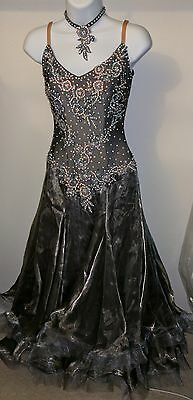 Ballroom Latin Rhythm Competition Dance Dress With Gloves And Wings Swarovski