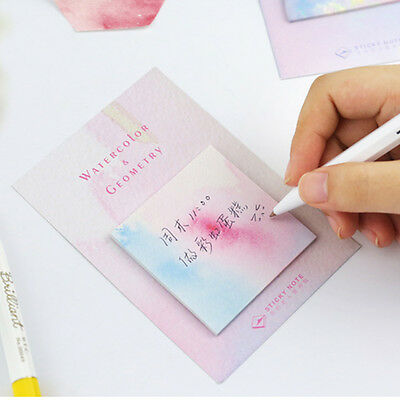 New Watercolor Geometric Self-Adhesive Memo Pad Sticky Notes Bookmark CN