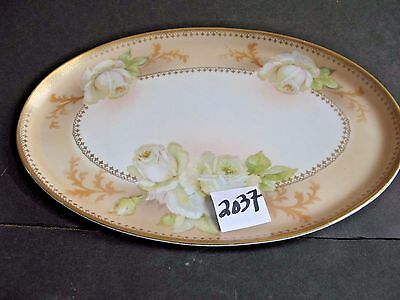 Old Austrian Oval Dresser Tray.  Large White Hand Painted Roses