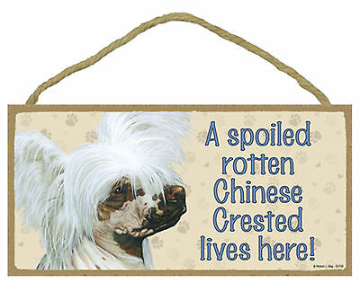 A spoiled rotten Chinese Crested lives here! Wood Puppy Dog Sign Plaque USA Made